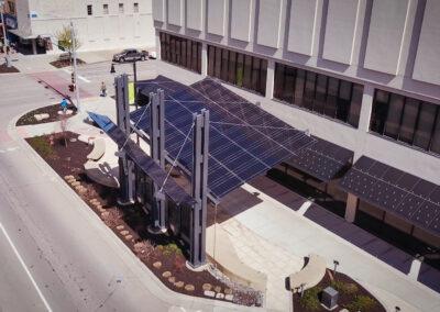 Solar Awning Installation at Evergy's Pocket Park in Topeka, Kansas.